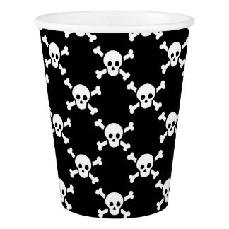 Paper Cup with white skulls & crossbones on black