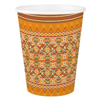 PAPER CUPS Ikat border look
