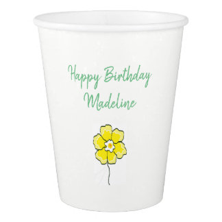 Paper cups white green TEMPLATE custom