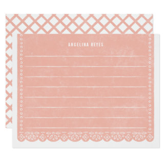 Paper Cut Banner Stationery - Salmon Card