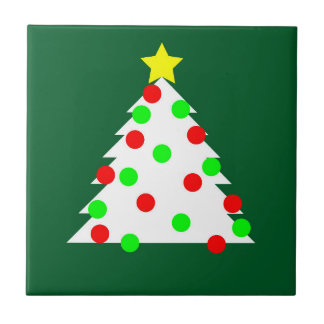 Paper Cutout Christmas Tree Small Square Tile