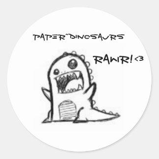 Paper~Dinosaurs Classic Round Sticker
