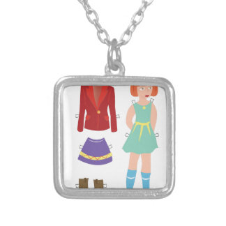 Paper Doll Silver Plated Necklace