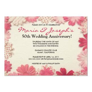 Paper Flowers Wedding Anniversary Invitation