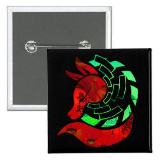Paper fox crest 15 cm square badge