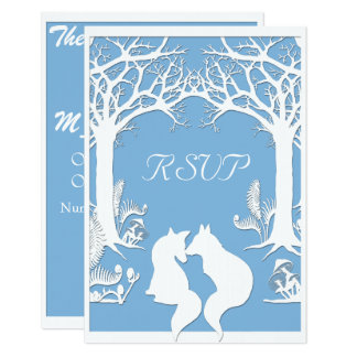Paper Foxes in Placid Blue Card