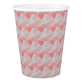 paper glasses with pink hearts paper cup