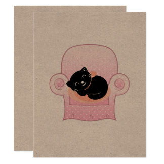 Paper greeting with Black kitten Card