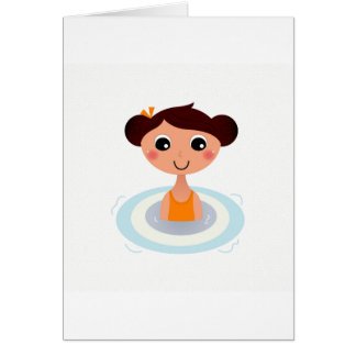 Paper greeting with Cartoon little girl Card