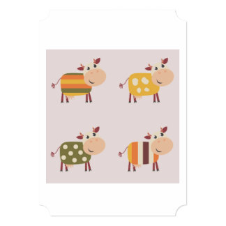 Paper greeting with Cows  /   yellow Card