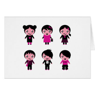 Paper greeting with Emo kids Card