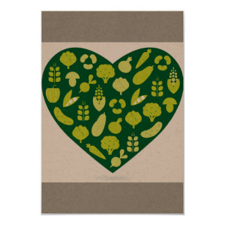 Paper greeting with Green vegetable heart Card