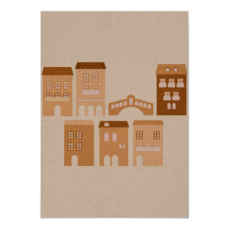 Paper greeting with italia houses card