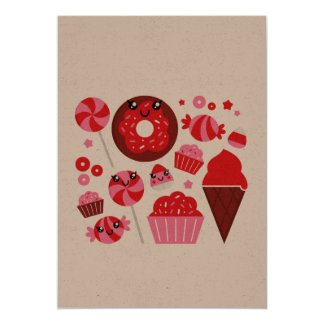 Paper greeting with Red donuts Card