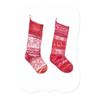 Paper greeting with Red xmas Socks Card
