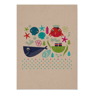 Paper greeting with Sea creatures Card