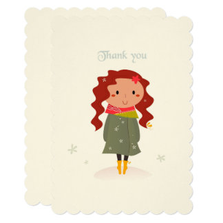 Paper greeting with Thank you girl Card