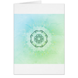 Paper greeting with vintage Mandala  /   green Card