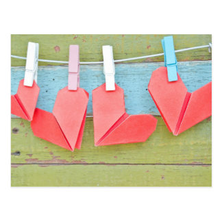 Paper Heart Hanging On The Clothesline Postcard