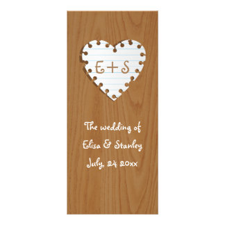 Paper heart on wood wedding program rack card template