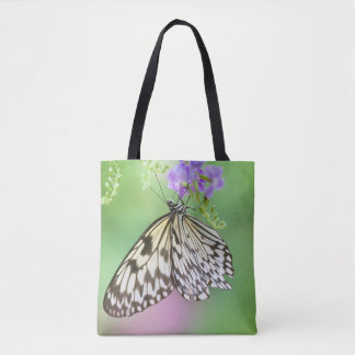 Paper kite in green and purple tote bag