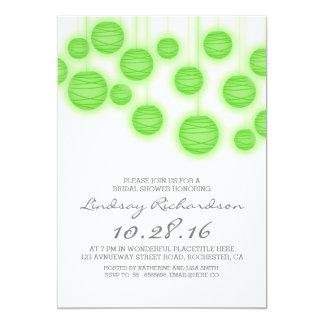 Paper lanterns elegant green bridal shower invite