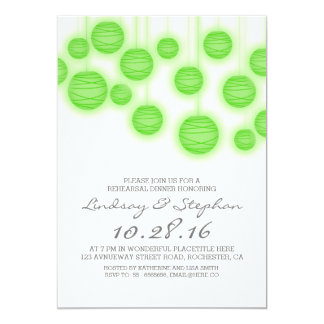 Paper lanterns elegant green rehearsal dinner 13 cm x 18 cm invitation card
