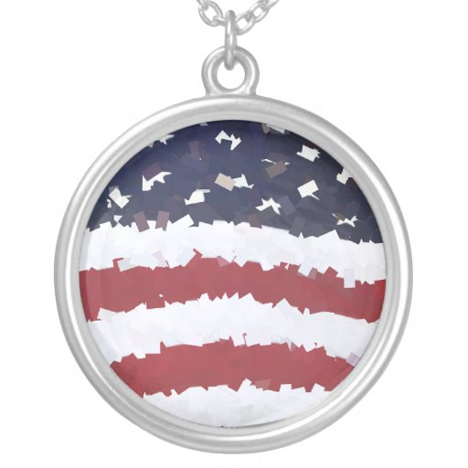 Paper Mache American Flag Custom Necklace