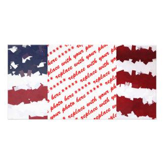 Paper Mache American Flag Picture Card