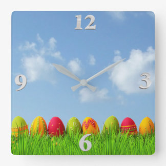 Paper Mache Easter Eggs Square Wall Clock