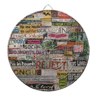 Paper mache word collage from early 90's magazines dartboard