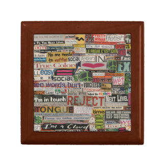 Paper mache word collage from early 90's magazines gift box