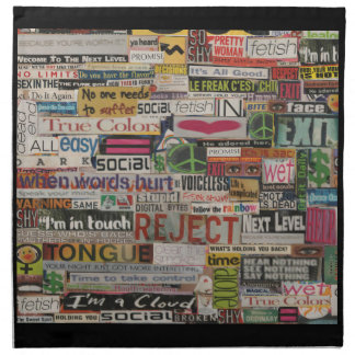 Paper mache word collage from early 90's magazines napkin