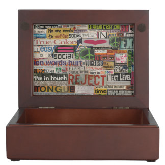 paper mache word collage from paper magazine keepsake boxes