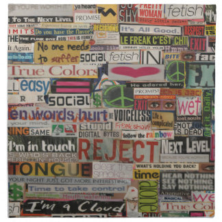 paper mache word collage from paper magazine napkin