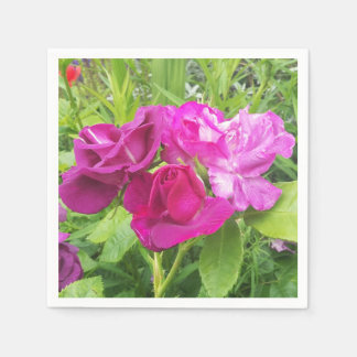Paper Napkin with Pink and Purple Rose Image