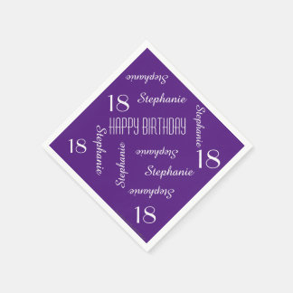 Paper Napkins, 18th Birthday Party Repeating Names Disposable Serviette