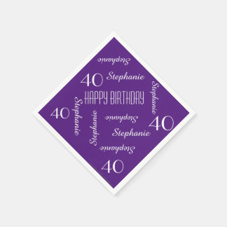 Paper Napkins, 40th Birthday Party Repeating Names Disposable Serviettes