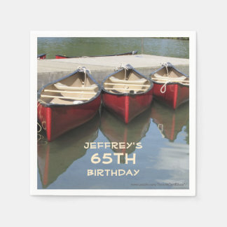 Paper Napkins 65th Birthday Party, Red Canoes Disposable Serviette