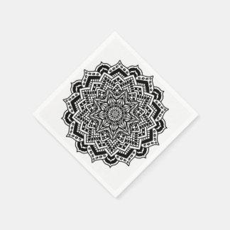 Paper Napkins Black and White Mandala Design Paper Napkin