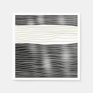 Paper napkins Black and white waves