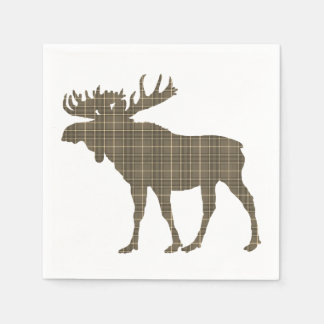 paper napkins   brown plaid moose