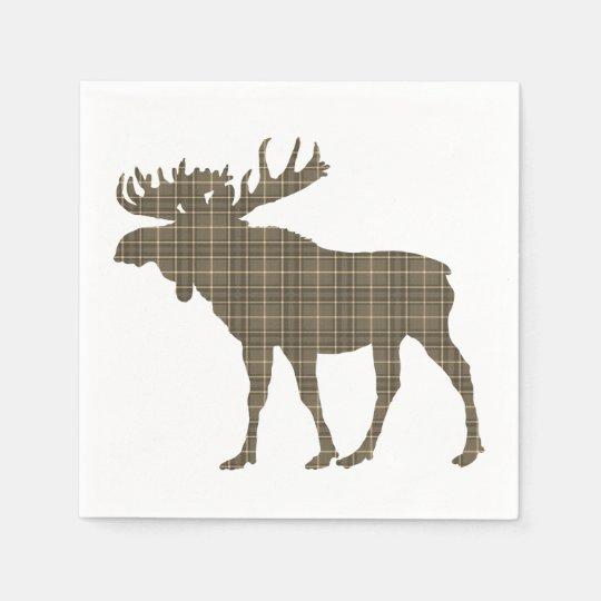paper napkins   brown plaid moose
