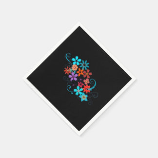 Paper Napkins Colorful Flowers on black background Disposable Napkin