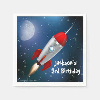 Paper Napkins Space Ship, Astronaut Birthday Party Disposable Serviette
