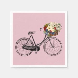 paper napkins white bike bicycle flower pink disposable napkin