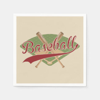 Paper Napkins with a baseball field and bats