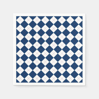 Paper Napkins with a blue and white argyle pattern