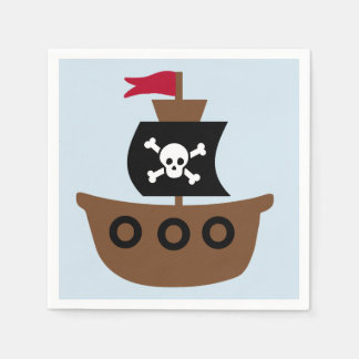 Paper Napkins with a Pirate Ship Disposable Serviette