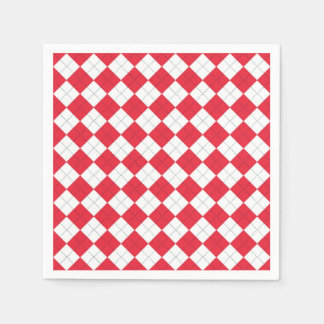 Paper Napkins with a red and white argyle pattern